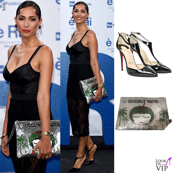 Caterina Balivo outfit Dolce&Gabbana borsa Hous of Mua Mua scarpe Louboutin