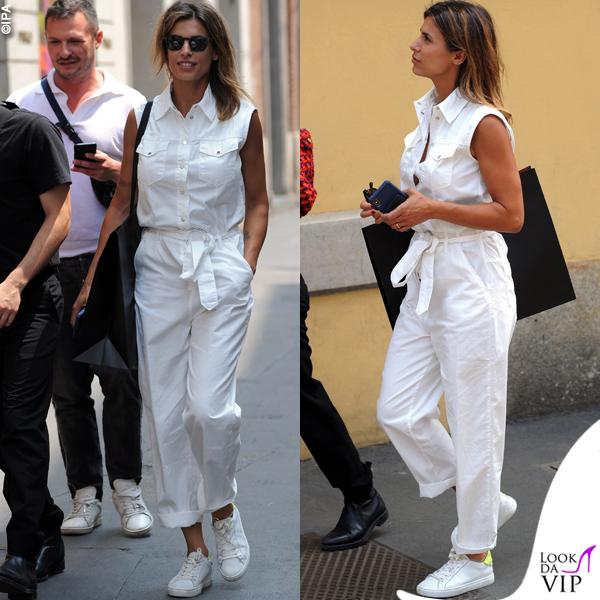 Elisabetta Canalis shopping a Milano tuta Pinko scarpe Crime London INSTGARAM