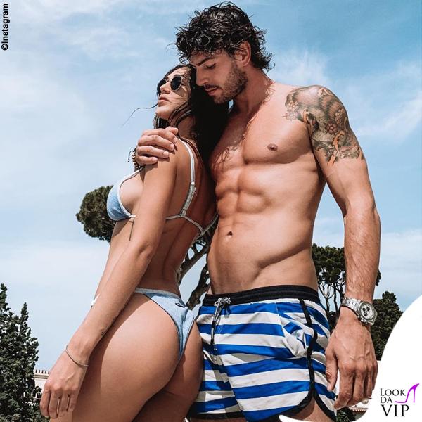Ignazio Moser e Cecilia Rodriguez costume righe