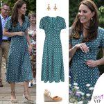 Kate Middleton abito Sandro zeppe Castaner orecchini Accessorize