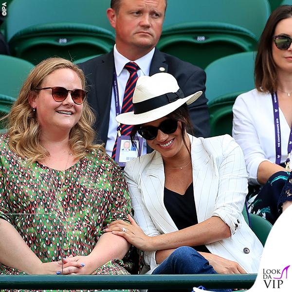 Meghan Markle Wimbledon giacca Lagence jeans Outland Denim cappello Madewell orecchini Pippa Small
