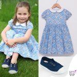 Principessa Charlotte quarto compleanno abito Trotters scarpe Hampton Canvas