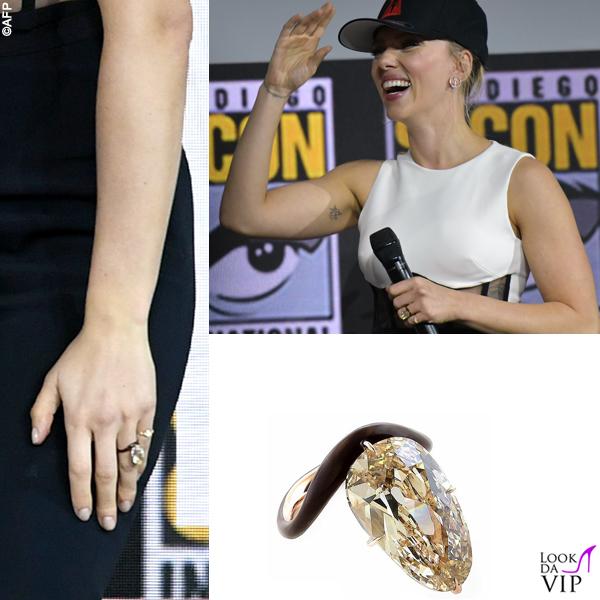 Scarlett Johansson tuta David Koma anello Taffin scarpe Gianvito Rossi 3