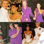 Victoria e David Beckham matrimonio abiti Vera Wang e Timothy Everett e Antonio Berardi