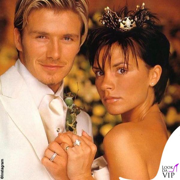 Victoria e David Beckham matrimonio abiti Vera Wang e Timothy Everett