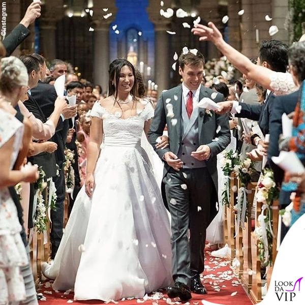 matrimonio Louis Ducruet e Marie Chevallier abiti Atelier Boisanger Rosa Clara e Carlo Pignatelli Dior Homme 2