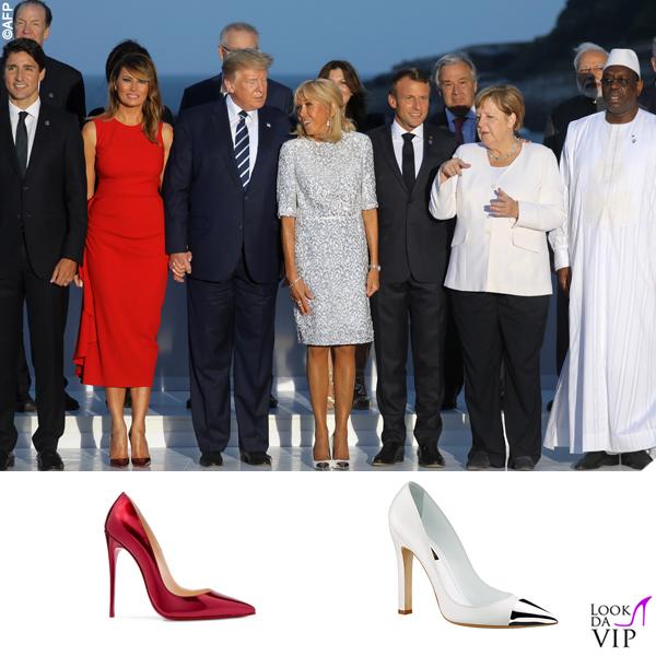 G7 Biarritz Melania Trump abito Alexander McQueen pump Christian Louboutin Brigitte Macron pump Louis Vuitton