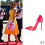 G7 Biarritz Melania Trump abito Calvin Klein pump Christian Louboutin