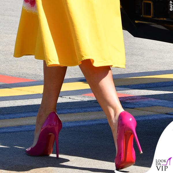 G7 Biarritz Melania Trump abito Calvin Klein pump Christian Louboutin 2