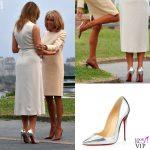 G7 Biarritz Melania Trump abito Gucci pump Christian Louboutin Brigitte Macron 2