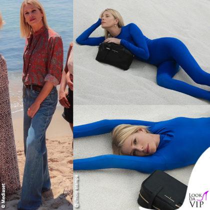 Alessia Marcuzzi Temptation Island outfit Etro borsa Marks&Angels Ivy