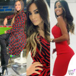 Giorgia Palmas colto di Milan Tv con outfit rossonero