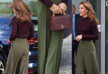 Look autunnale per Kate Middleton, a Londra con pantaloni Jigsaw, maglione Warehouse, scarpe Tods, borsa Chanel e orecchini Asprey