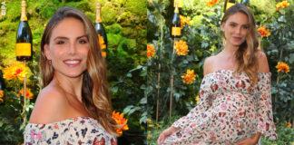 Nina Senicar fascia il pancione con i fiori