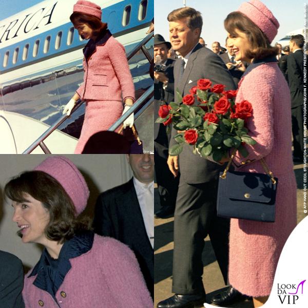 Jackie Kennedy e John Kennedy a Dallas con un tailleur Chez Ninon nel 1963
