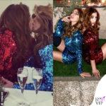 Margherita Zanatta e Guendalina Canessa con abiti Lara Roggi Atelier si danno un bacio lesbo
