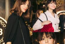 Margareth Made e Simona Molinari tailleur Sandro Paris con borse v°73 1