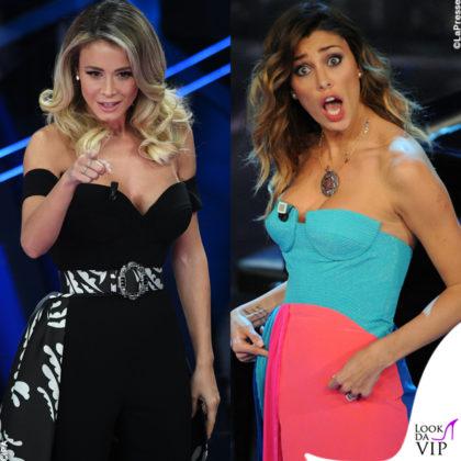 Sanremo 2020 prima serata Diletta Leotta abito Etro Festival di Sanremo 2012 Belen Rodriguez abito Fausto Puglisi