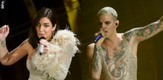 Sanremo: Elettra Lamborghini in tuta Marinella Spose e Achille Lauro in tuta Gucci