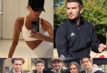 Victoria e David Beckham con la famiglia