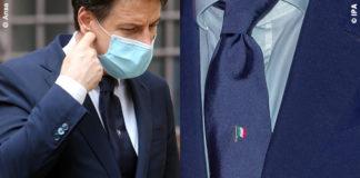 Giuseppe Conte cravatta con tricolore Talarico