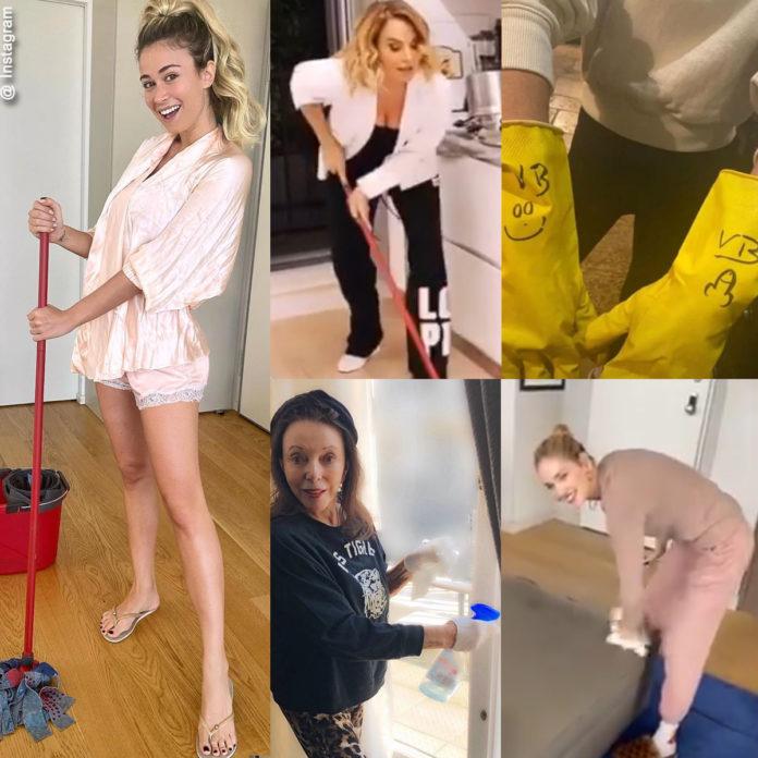 star in quarantena che fanno le pulizie