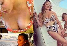 chrissy teigen in bikini dover aver rimosso le protesi al seno