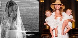 Fiammetta cicogna vestita da sposa (Andrea Incontri) al battesimo delle figlie