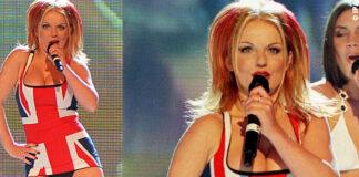 Geri Halliwell con lo Union Jack Dress ai Brit Awards 1997