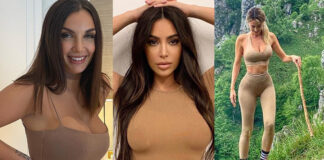 Lamborghini Kardashian Leotta Baldwin nudelook vestito color carne