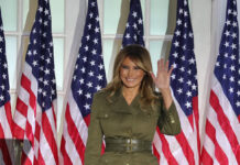 melania trump in alexander mcqueen alla convention repubblicana