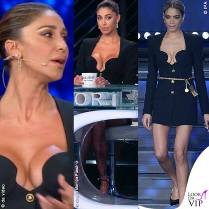 Belen Rodriguez Tsqv Elodie Sanremo abito Versace con scollatura iconica