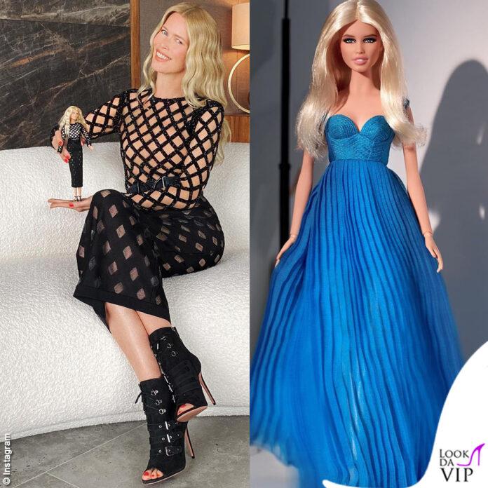 Claudia Schiffer Barbie abito Balmain Versace