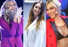 Lorella Cuccarini tailleur Lardini Silvia Toffanin tailleur Simona Corsellini Paola Barale tailleur Parosh