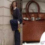 Belen Rodriguez outfit Tory Burch borsa Birkin Hermes