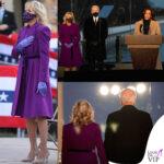 Jill Biden total purple look Jonathan Cohen Joe Biden Kamala Harris cappotto Pyer Moss