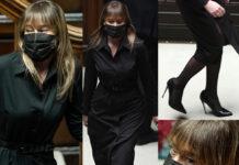 Maria Elena Boschi, Italia Viva, total black con chemisier nero 18 gennaio 2021