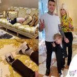Fedez Leone Lucia Ferragni Donatella Versace divano Versace