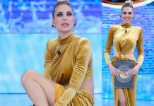 Ilary Blasi Isola 3 puntata abito Lia Stublla scarpe Le Silla orecchini Bozart
