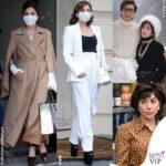 Lady Gaga Patrizia Reggiani cappotto Max Mara scarpe Marni borsa Celine tailleur Max Mara scarpe Pleaser borsa Valentino mascherina Michael Ngo house of gucci