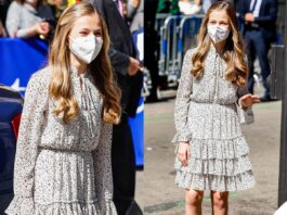 la principessa leonor di spagna al suo primo evento pubblico da sola con l'abito Poete