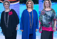 sola dei Famosi Iva Zanicchi abito Martino Midali abito Atelier Beretta