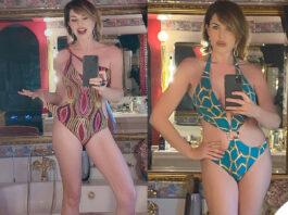 Alba Parietti compleanno costume Miss Bikini Luxe
