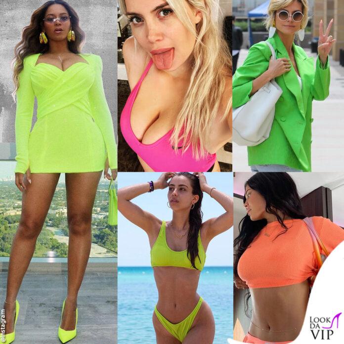 Beyoncé Wanda Nara Heidi Klum Elisa Visari Kylie Jenner look fluo