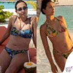 caterina balivo in bikini mostra con orgoglio pancetta e smagliature