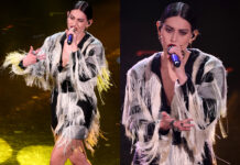 Gaia Sanremo 2021 5 serata minidress frange Ferragamo