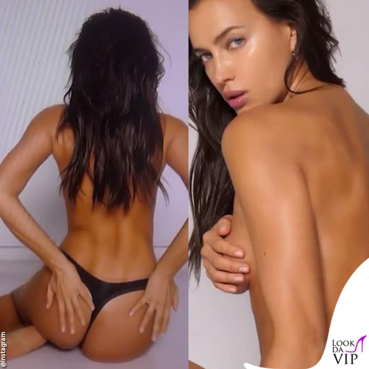 Irina Shayk sexy su Instagram in topless e perizoma