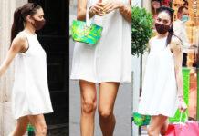 Elodie scarpe Sergio Rossi borsa Versace shopping Roger Vivier
