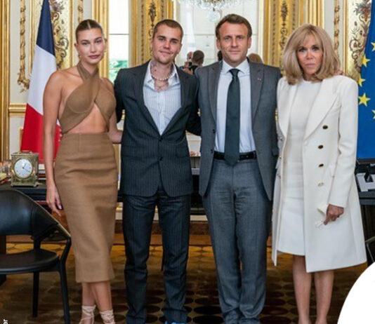 Hailey Baldwin e Justin Bieber incontrano Emmanuel Macron a Parigi