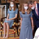 leonor di spagna all'evento con la famiglia studia da regina con i tacchi ma ha ancora le ginocchia sbucciate